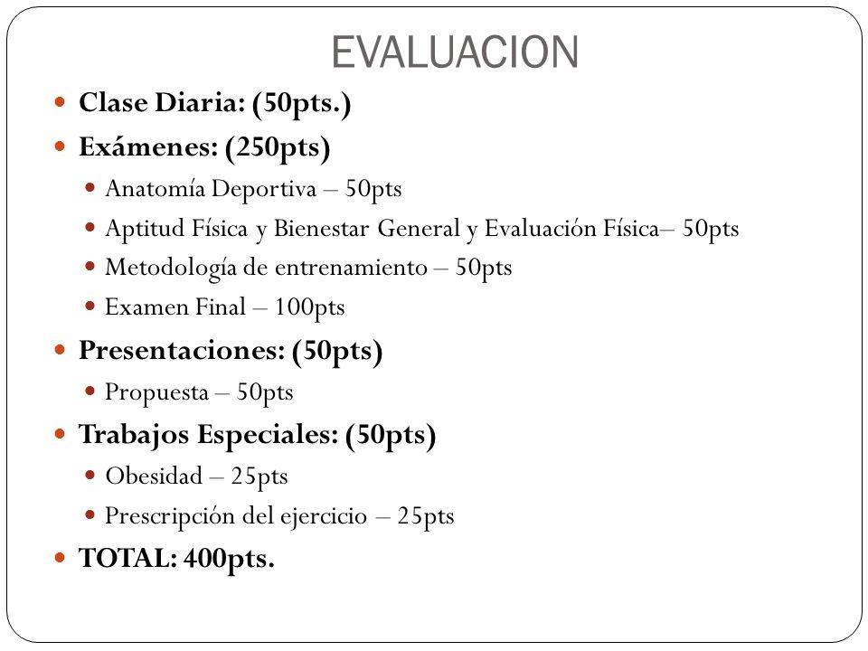 EVALUACION Clase Diaria: (50pts.) Exámenes: (250pts) Anatomía Deportiva – 50pts Aptitud Física y Bienestar General y Evaluación Física– 50pts Metodolo