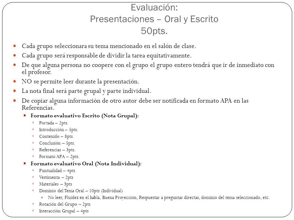 Evaluación: Presentaciones – Oral y Escrito 50pts. Cada grupo seleccionara su tema mencionado en el salón de clase. Cada grupo será responsable de div