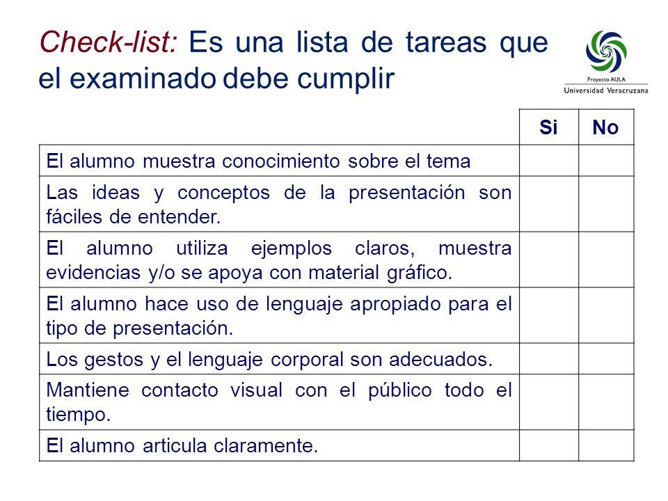 SiNo El alumno muestra conocimiento sobre el tema Las ideas y conceptos de la presentación son fáciles de entender. El alumno utiliza ejemplos claros,