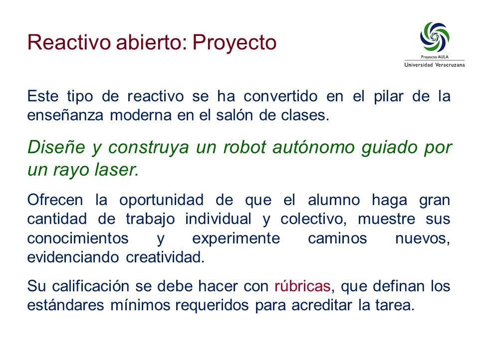 Reactivo abierto: Proyecto Este tipo de reactivo se ha convertido en el pilar de la enseñanza moderna en el salón de clases.
