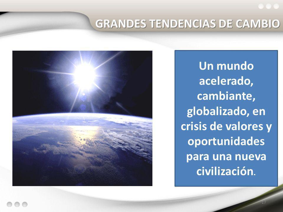 GRANDES TENDENCIAS DE CAMBIO 17 Un mundo acelerado, cambiante, globalizado, en crisis de valores y oportunidades para una nueva civilización.