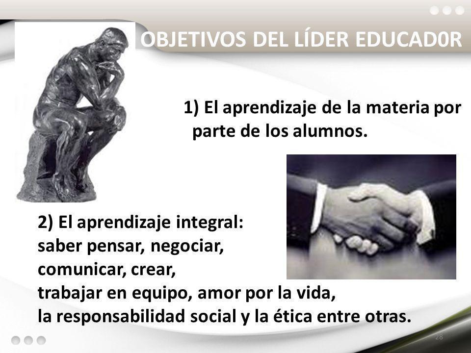 OBJETIVOS DEL LÍDER EDUCAD0R 1) El aprendizaje de la materia por parte de los alumnos. 2) El aprendizaje integral: saber pensar, negociar, comunicar,