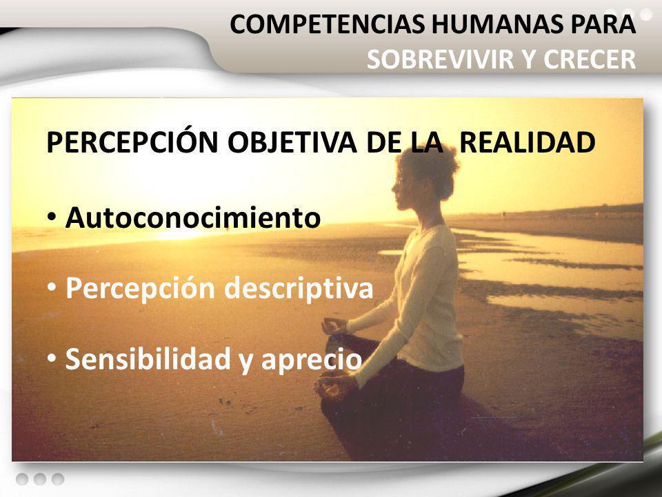 COMPETENCIAS HUMANAS PARA SOBREVIVIR Y CRECER PERCEPCIÓN OBJETIVA DE LA REALIDAD Autoconocimiento Percepción descriptiva Sensibilidad y aprecio