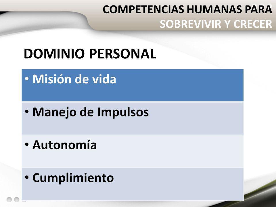 COMPETENCIAS HUMANAS PARA SOBREVIVIR Y CRECER DOMINIO PERSONAL Misión de vida Manejo de Impulsos Autonomía Cumplimiento