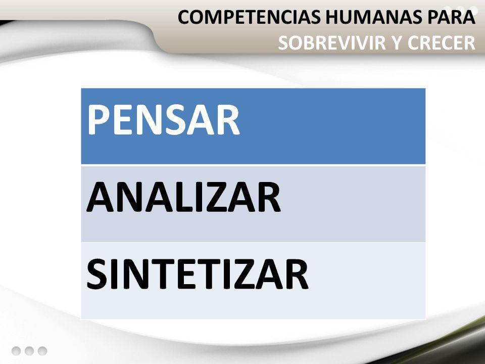 COMPETENCIAS HUMANAS PARA SOBREVIVIR Y CRECER PENSAR ANALIZAR SINTETIZAR