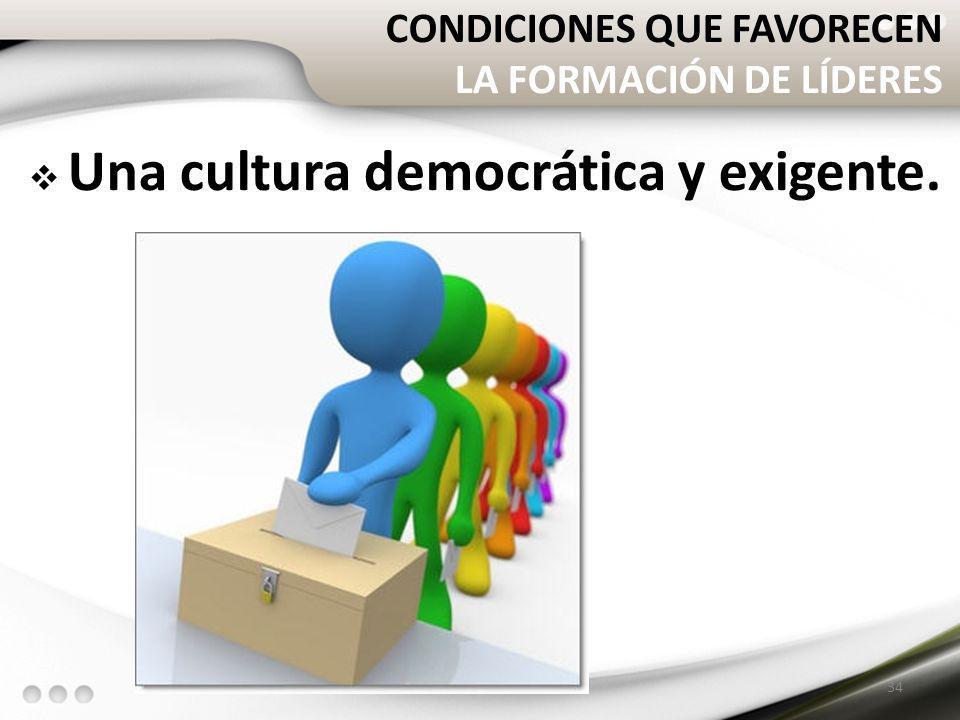 CONDICIONES QUE FAVORECEN LA FORMACIÓN DE LÍDERES Una cultura democrática y exigente. 34