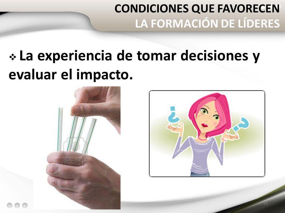 CONDICIONES QUE FAVORECEN LA FORMACIÓN DE LÍDERES La experiencia de tomar decisiones y evaluar el impacto. 35