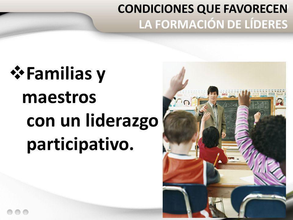 CONDICIONES QUE FAVORECEN LA FORMACIÓN DE LÍDERES Familias y maestros con un liderazgo participativo. 36
