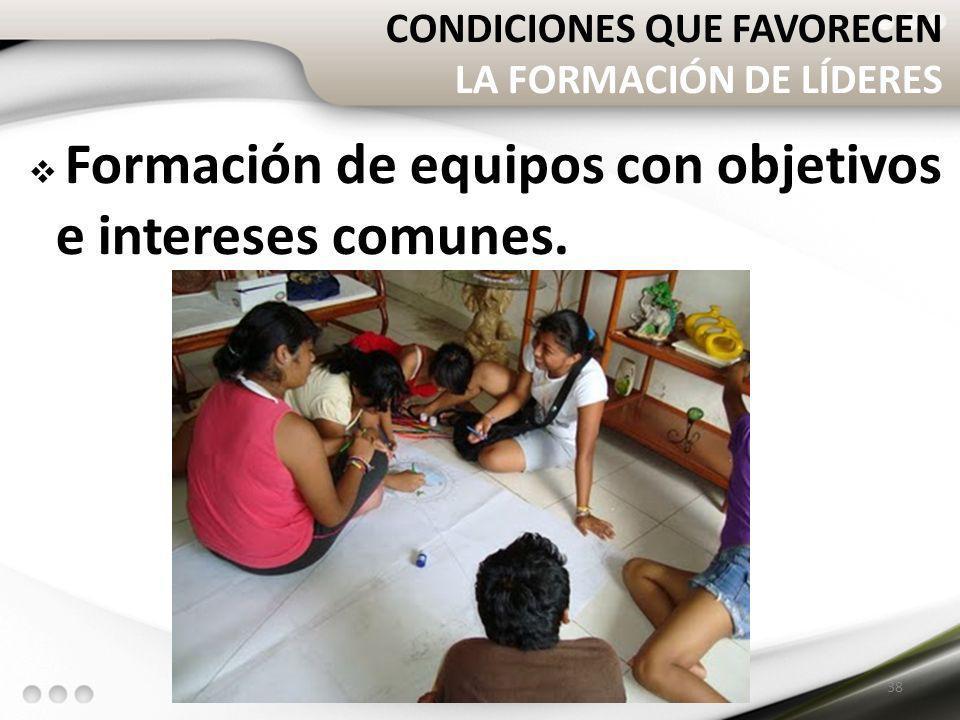 CONDICIONES QUE FAVORECEN LA FORMACIÓN DE LÍDERES Formación de equipos con objetivos e intereses comunes. 38