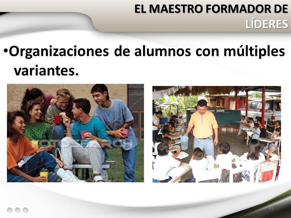 EL MAESTRO FORMADOR DE LÍDERES Organizaciones de alumnos con múltiples variantes. 41