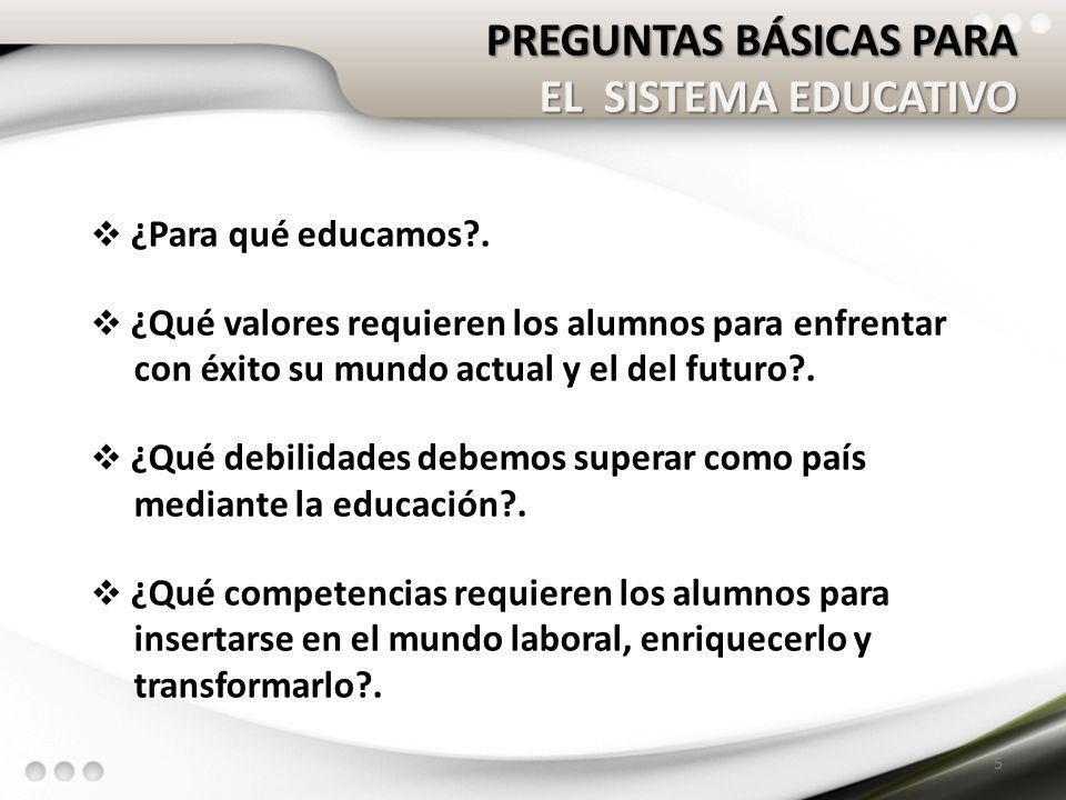 PREGUNTAS BÁSICAS PARA EL SISTEMA EDUCATIVO ¿Para qué educamos?. ¿Qué valores requieren los alumnos para enfrentar con éxito su mundo actual y el del