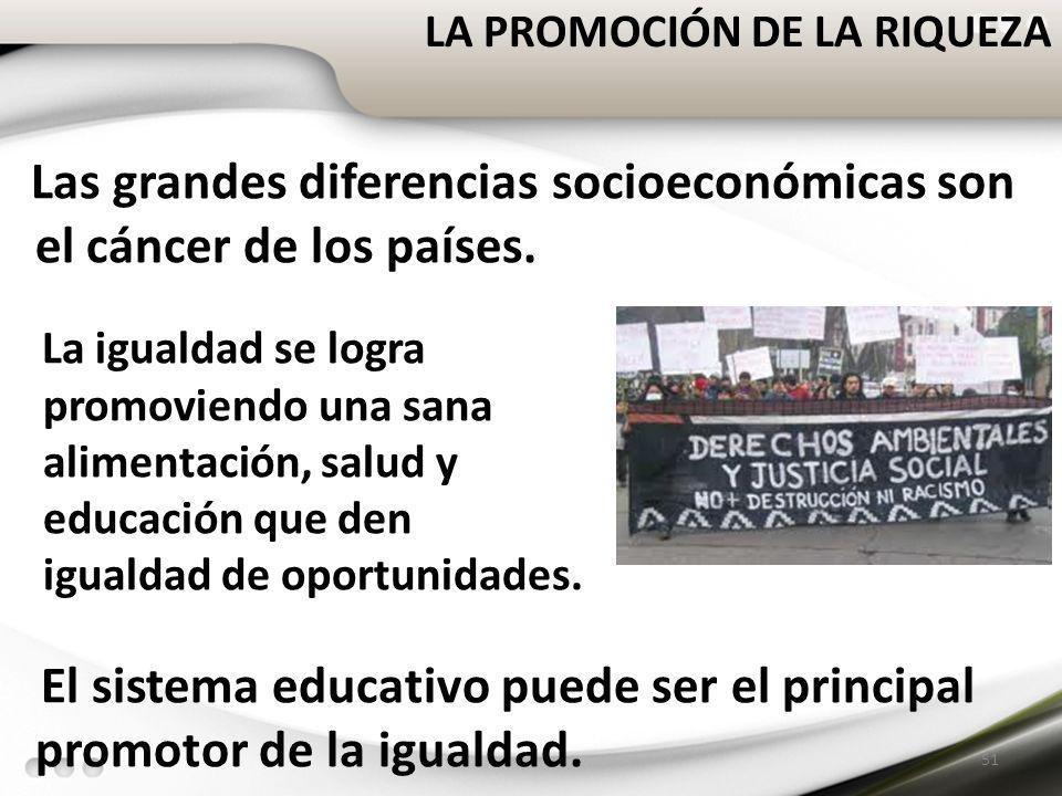 LA PROMOCIÓN DE LA RIQUEZA 51 Las grandes diferencias socioeconómicas son el cáncer de los países. La igualdad se logra promoviendo una sana alimentac