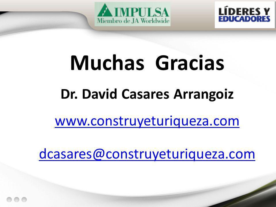 Muchas Gracias Dr. David Casares Arrangoiz www.construyeturiqueza.com dcasares@construyeturiqueza.com