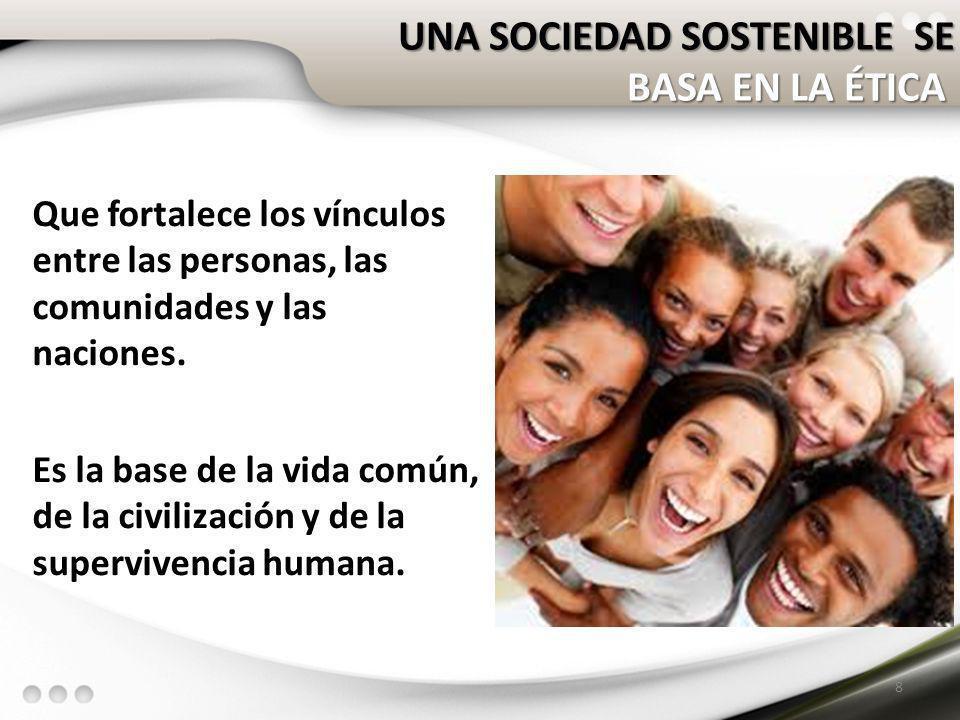 Que fortalece los vínculos entre las personas, las comunidades y las naciones. Es la base de la vida común, de la civilización y de la supervivencia h