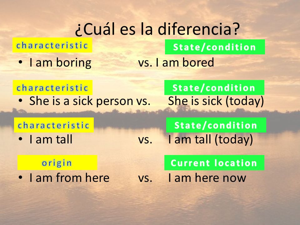 14 ser and estar both mean: to be These verbs have very specific uses and cannot be used interchangeably Remember these acronyms: SER- STOChI ESTAR-ELCing