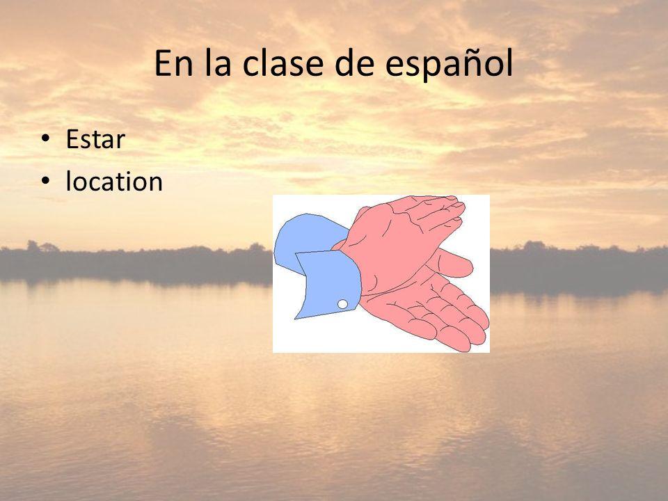 En la clase de español Estar location
