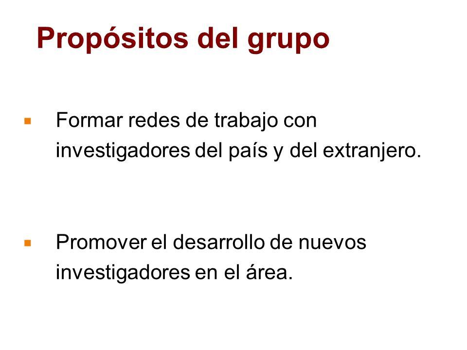 Propósitos del grupo Formar redes de trabajo con investigadores del país y del extranjero.