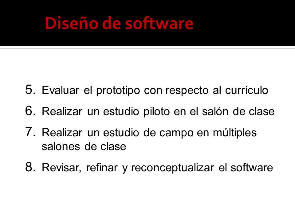 Diseño de software 5. Evaluar el prototipo con respecto al currículo 6. Realizar un estudio piloto en el salón de clase 7. Realizar un estudio de camp