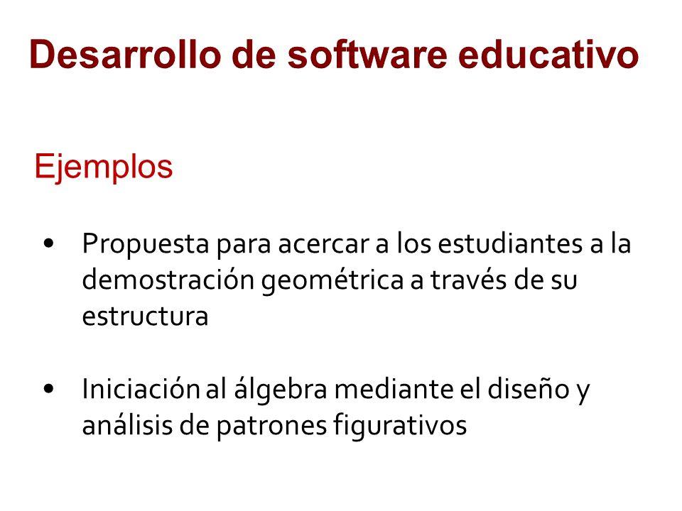 Desarrollo de software educativo Ejemplos Propuesta para acercar a los estudiantes a la demostración geométrica a través de su estructura Iniciación al álgebra mediante el diseño y análisis de patrones figurativos