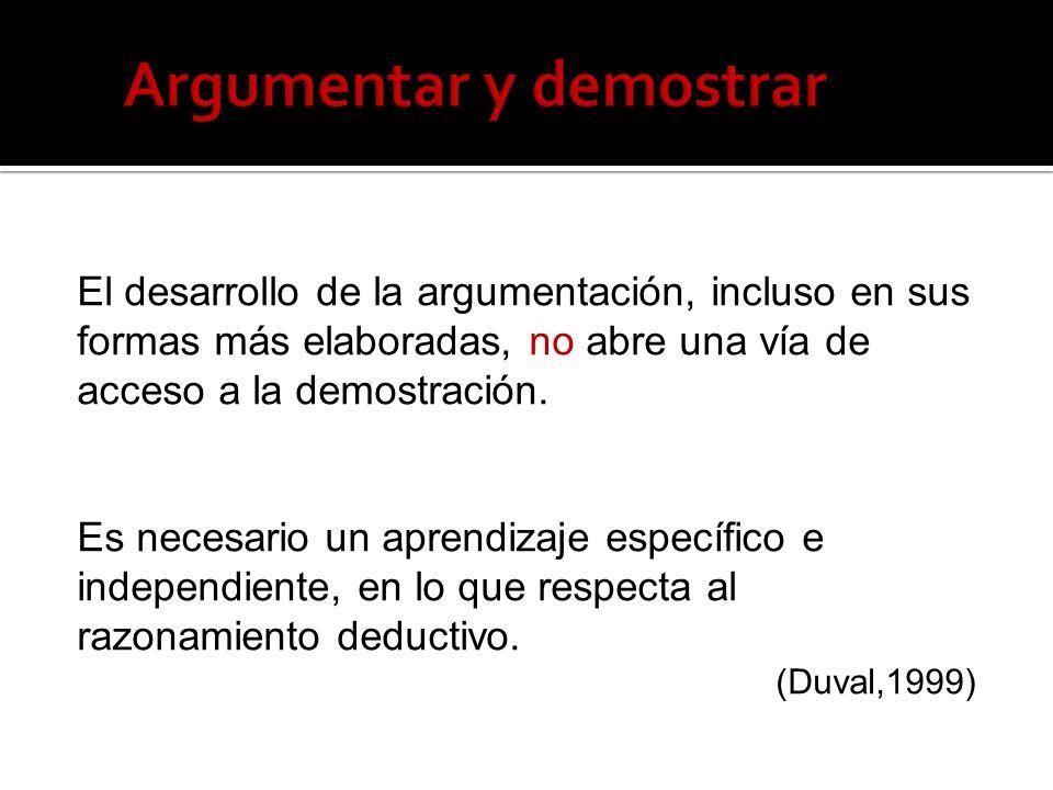 El desarrollo de la argumentación, incluso en sus formas más elaboradas, no abre una vía de acceso a la demostración. Es necesario un aprendizaje espe