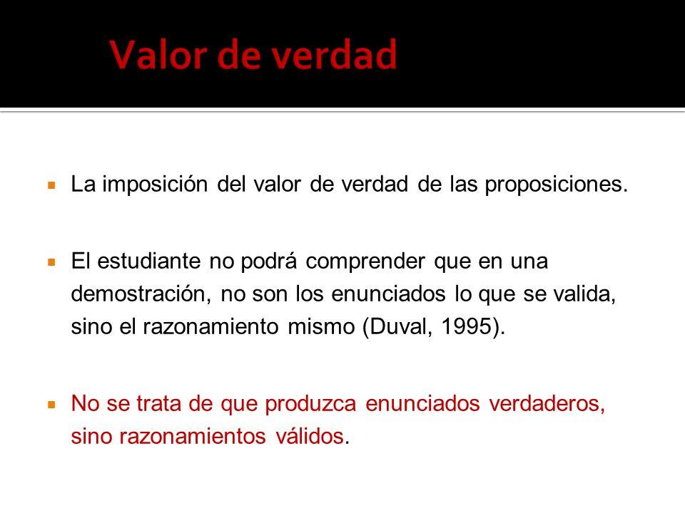 La imposición del valor de verdad de las proposiciones.