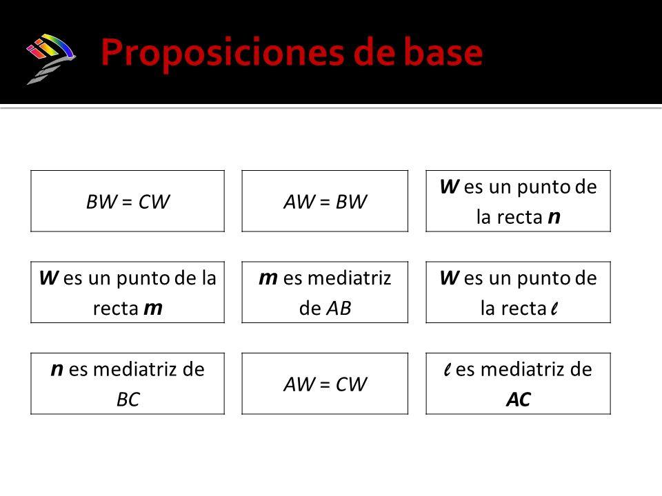 BW = CWAW = BW W es un punto de la recta n W es un punto de la recta m m es mediatriz de AB W es un punto de la recta l n es mediatriz de BC AW = CW l es mediatriz de AC Proposiciones de base