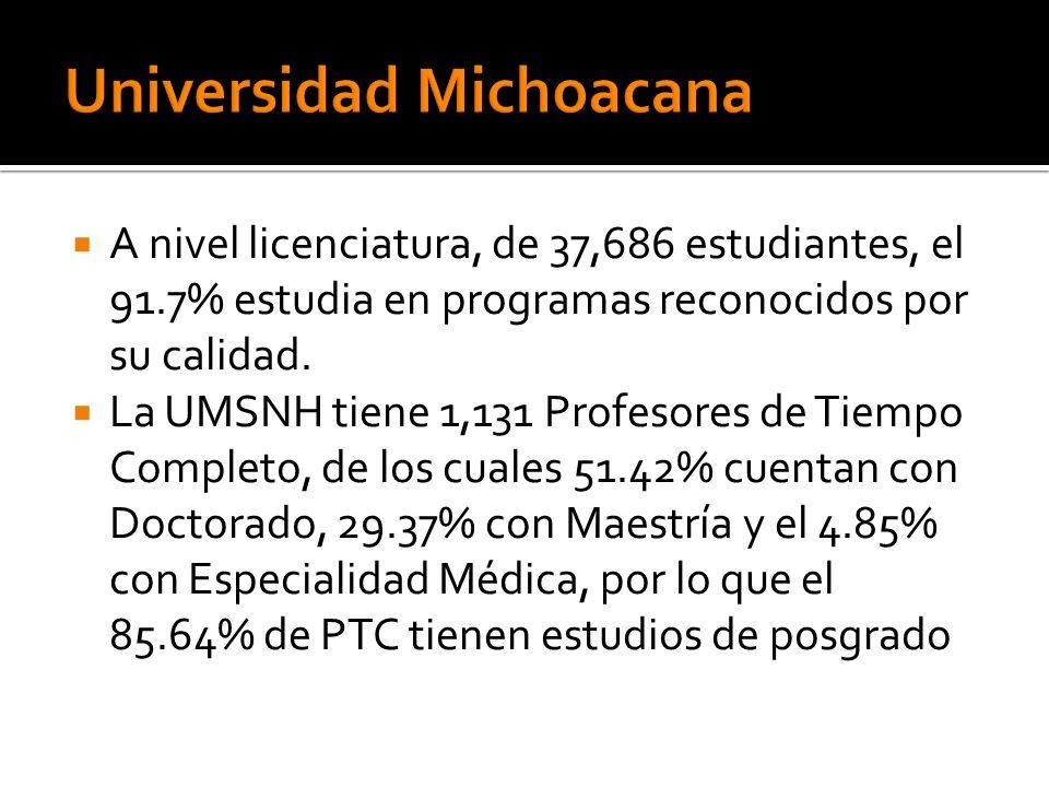 A nivel licenciatura, de 37,686 estudiantes, el 91.7% estudia en programas reconocidos por su calidad. La UMSNH tiene 1,131 Profesores de Tiempo Compl