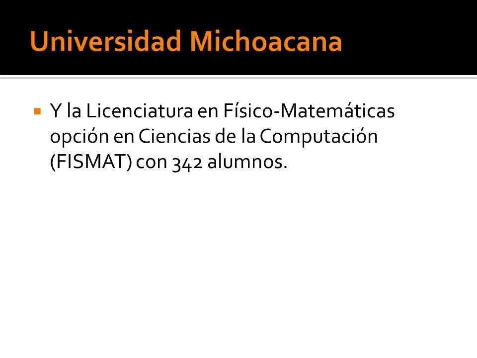 Y la Licenciatura en Físico-Matemáticas opción en Ciencias de la Computación (FISMAT) con 342 alumnos.