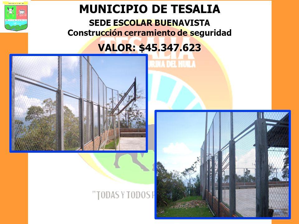 MUNICIPIO DE TESALIA SEDE ESCOLAR BUENAVISTA Construcción cerramiento de seguridad VALOR: $45.347.623