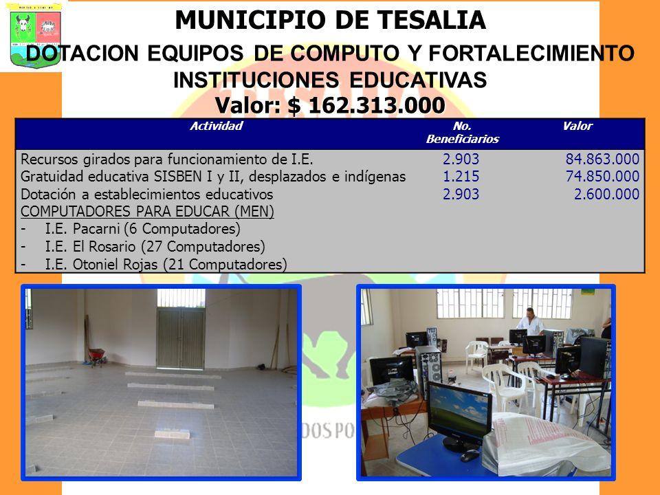 MUNICIPIO DE TESALIA DOTACION EQUIPOS DE COMPUTO Y FORTALECIMIENTO INSTITUCIONES EDUCATIVAS Valor: $ 162.313.000 ActividadNo. Beneficiarios Valor Recu
