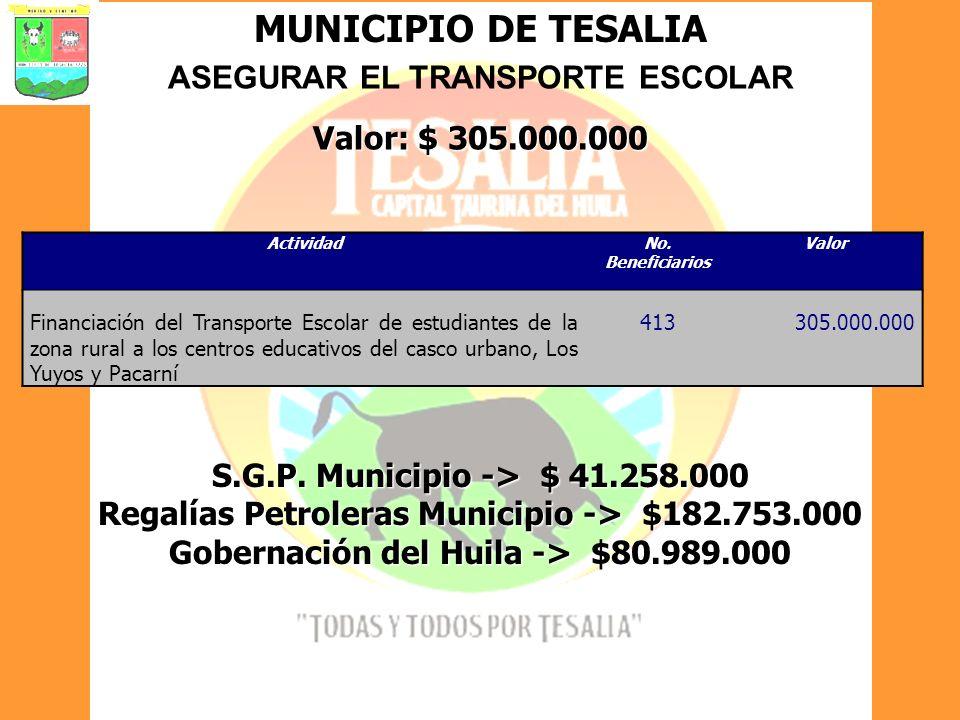 MUNICIPIO DE TESALIA ASEGURAR EL TRANSPORTE ESCOLAR Valor: $ 305.000.000 ActividadNo. Beneficiarios Valor Financiación del Transporte Escolar de estud