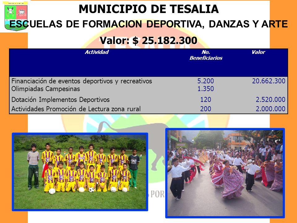 MUNICIPIO DE TESALIA ESCUELAS DE FORMACION DEPORTIVA, DANZAS Y ARTE Valor: $ 25.182.300 ActividadNo. Beneficiarios Valor Financiación de eventos depor