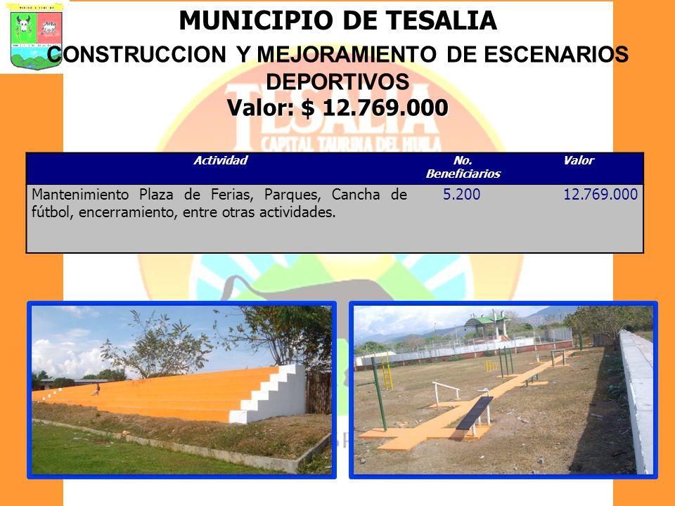 MUNICIPIO DE TESALIA CONSTRUCCION Y MEJORAMIENTO DE ESCENARIOS DEPORTIVOS Valor: $ 12.769.000 ActividadNo. Beneficiarios Valor Mantenimiento Plaza de