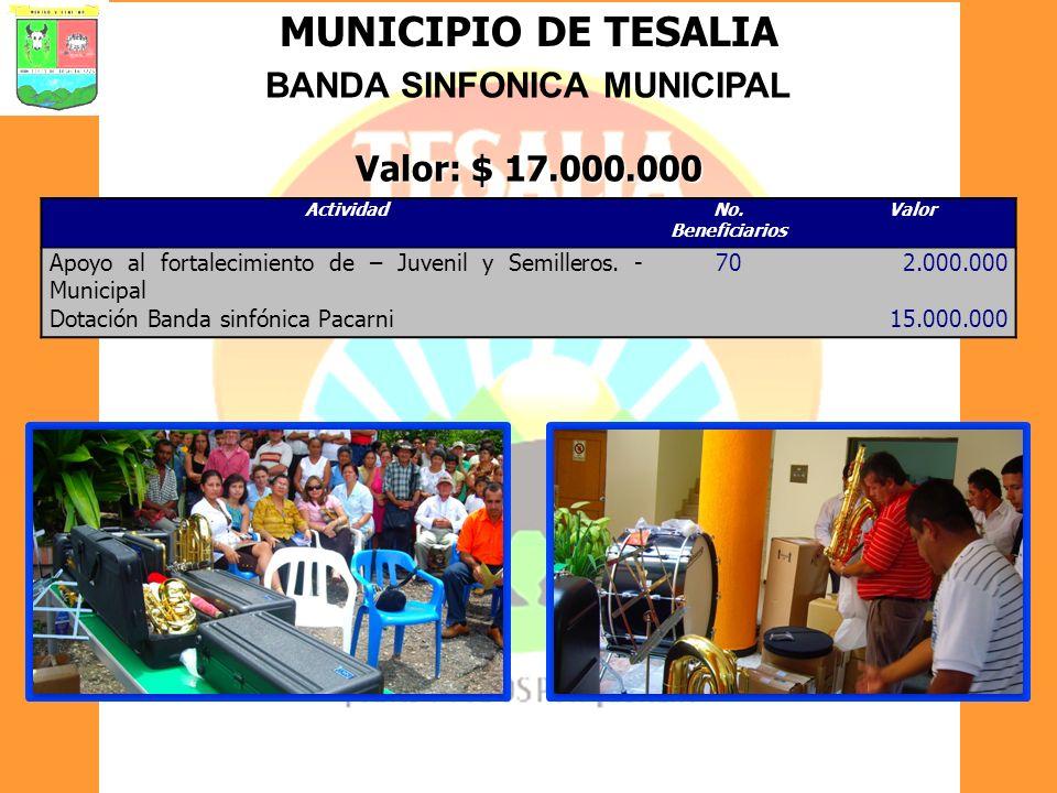 MUNICIPIO DE TESALIA BANDA SINFONICA MUNICIPAL Valor: $ 17.000.000 ActividadNo. Beneficiarios Valor Apoyo al fortalecimiento de – Juvenil y Semilleros