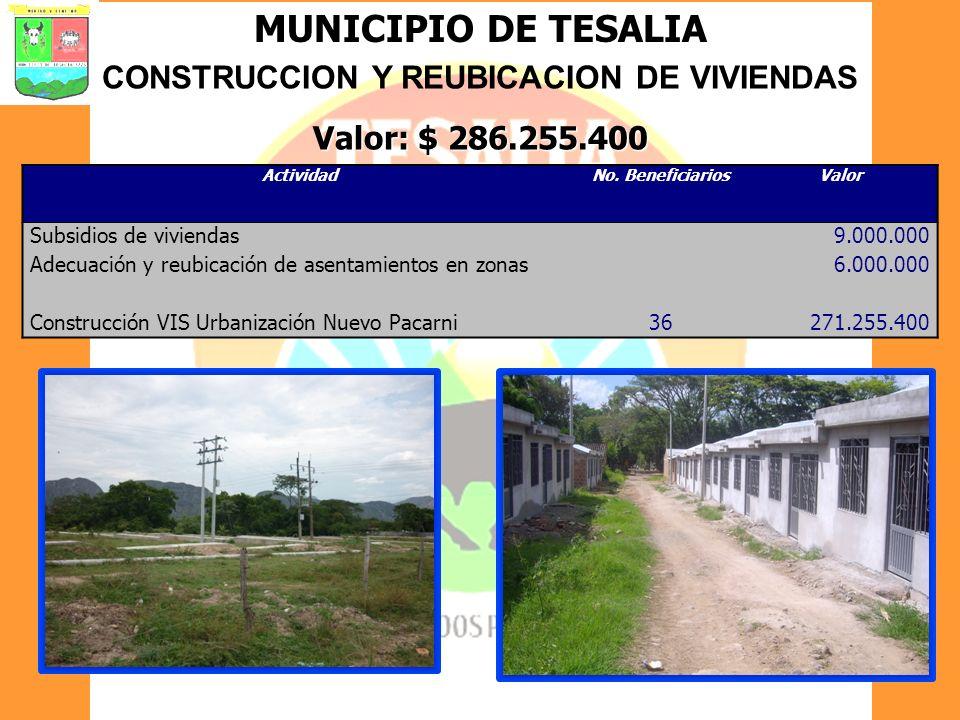 MUNICIPIO DE TESALIA CONSTRUCCION Y REUBICACION DE VIVIENDAS Valor: $ 286.255.400 ActividadNo. BeneficiariosValor Subsidios de viviendas9.000.000 Adec