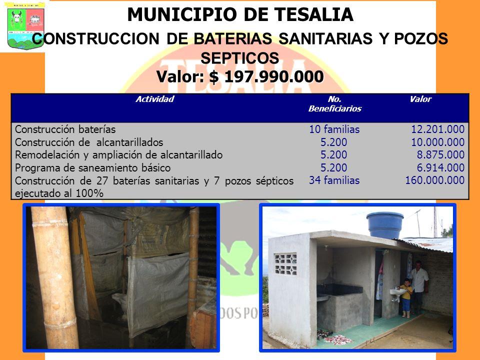 MUNICIPIO DE TESALIA CONSTRUCCION DE BATERIAS SANITARIAS Y POZOS SEPTICOS Valor: $ 197.990.000 ActividadNo. Beneficiarios Valor Construcción baterías1