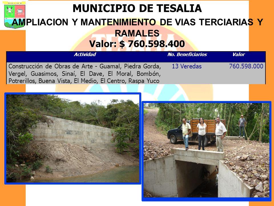 MUNICIPIO DE TESALIA AMPLIACION Y MANTENIMIENTO DE VIAS TERCIARIAS Y RAMALES Valor: $ 760.598.400 ActividadNo. BeneficiariosValor Construcción de Obra