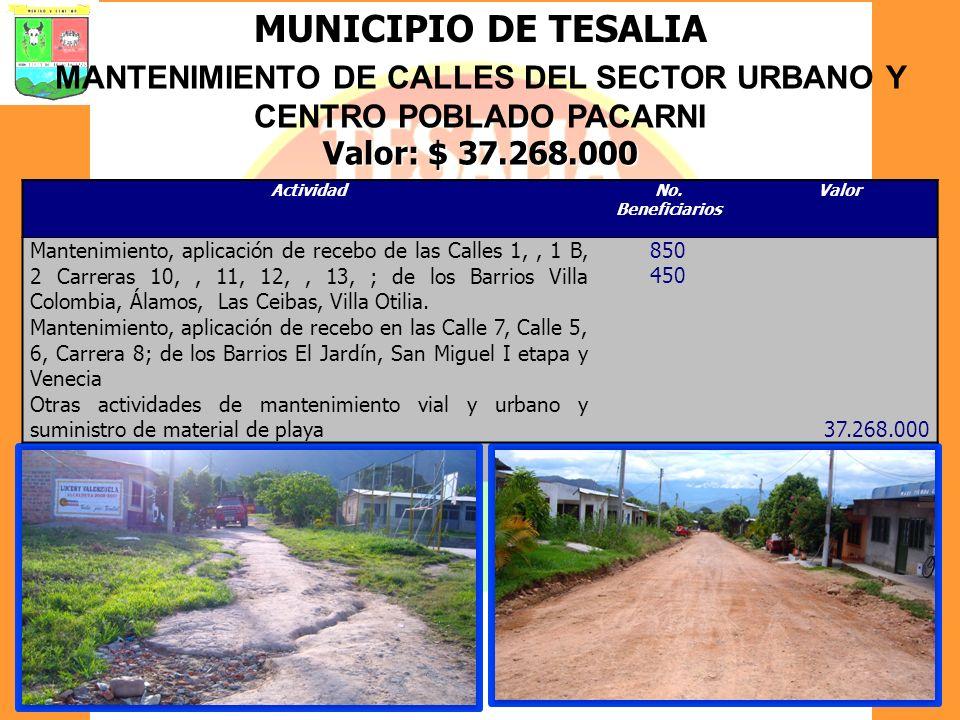 MUNICIPIO DE TESALIA MANTENIMIENTO DE CALLES DEL SECTOR URBANO Y CENTRO POBLADO PACARNI Valor: $ 37.268.000 ActividadNo. Beneficiarios Valor Mantenimi