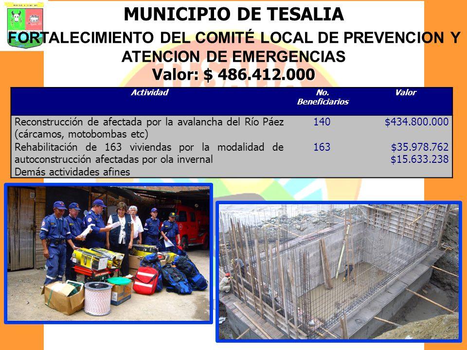 MUNICIPIO DE TESALIA FORTALECIMIENTO DEL COMITÉ LOCAL DE PREVENCION Y ATENCION DE EMERGENCIAS Valor: $ 486.412.000 ActividadNo. Beneficiarios Valor Re