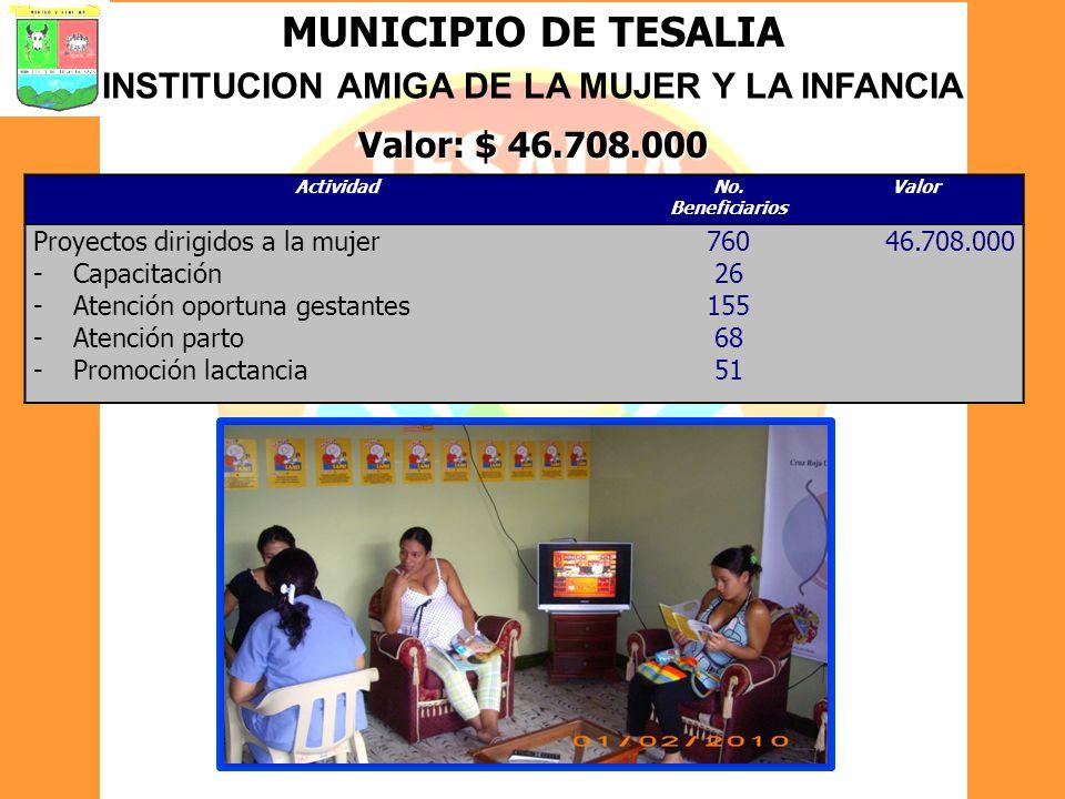 MUNICIPIO DE TESALIA INSTITUCION AMIGA DE LA MUJER Y LA INFANCIA Valor: $ 46.708.000 ActividadNo. Beneficiarios Valor Proyectos dirigidos a la mujer -