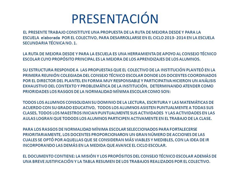 PRESENTACIÓN EL PRESENTE TRABAJO CONSTITUYE UNA PROPUESTA DE LA RUTA DE MEJORA DESDE Y PARA LA ESCUELA elaborada POR EL COLECTIVO, PARA DESARROLLARSE