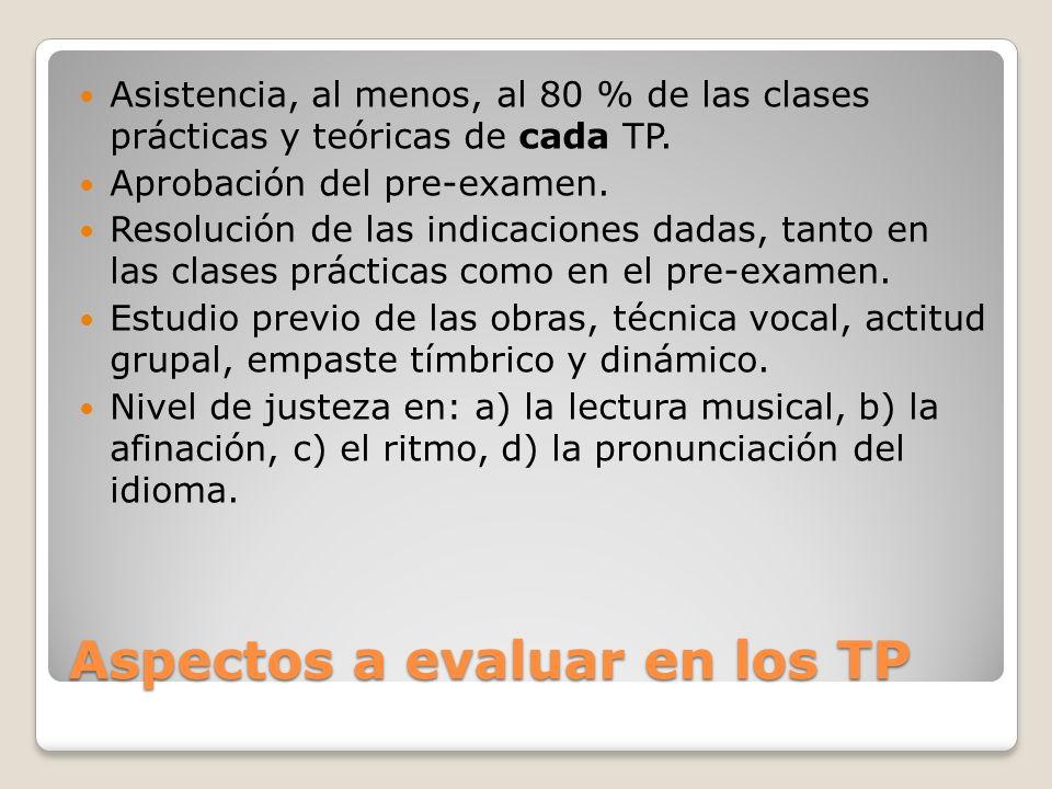 Aspectos a evaluar en los TP Asistencia, al menos, al 80 % de las clases prácticas y teóricas de cada TP. Aprobación del pre-examen. Resolución de las