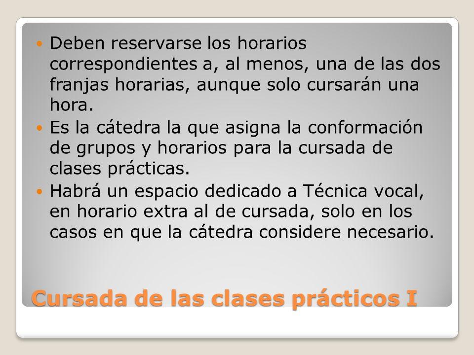 Cursada de las clases prácticos I Deben reservarse los horarios correspondientes a, al menos, una de las dos franjas horarias, aunque solo cursarán un