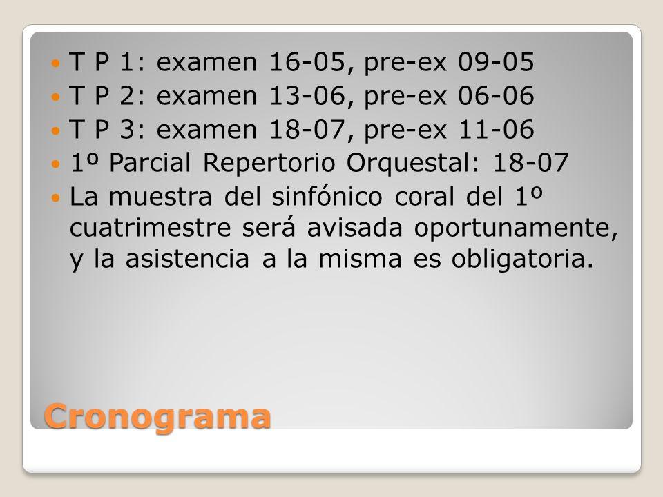 Cronograma T P 1: examen 16-05, pre-ex 09-05 T P 2: examen 13-06, pre-ex 06-06 T P 3: examen 18-07, pre-ex 11-06 1º Parcial Repertorio Orquestal: 18-0