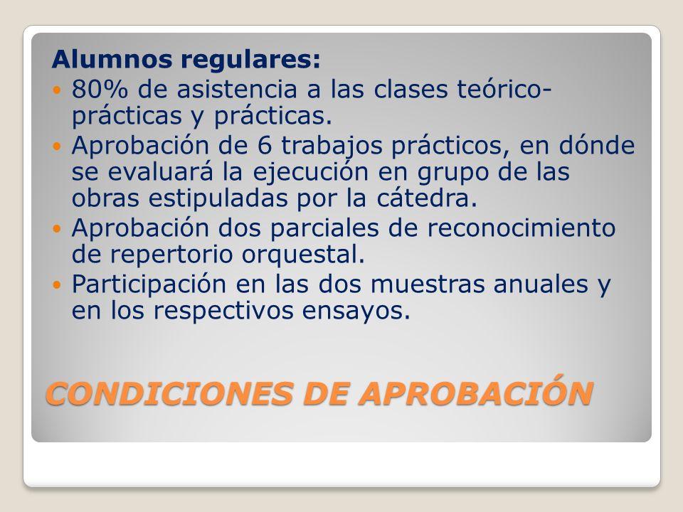 CONDICIONES DE APROBACIÓN Alumnos regulares: 80% de asistencia a las clases teórico- prácticas y prácticas. Aprobación de 6 trabajos prácticos, en dón