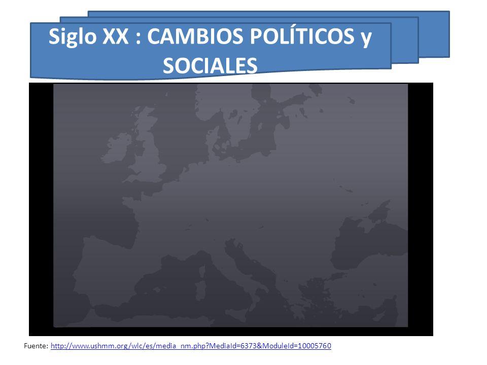 Siglo XX : CAMBIOS POLÍTICOS y SOCIALES Fuente: http://www.ushmm.org/wlc/es/media_nm.php?MediaId=6373&ModuleId=10005760http://www.ushmm.org/wlc/es/med
