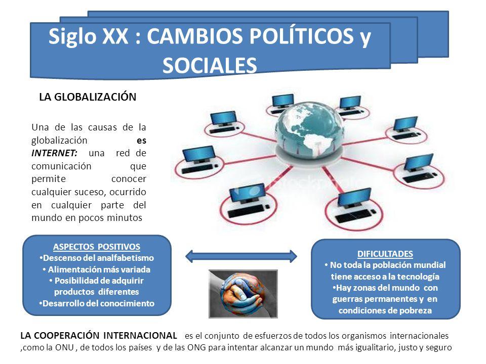 Siglo XX : CAMBIOS POLÍTICOS y SOCIALES Una de las causas de la globalización es INTERNET: una red de comunicación que permite conocer cualquier suces