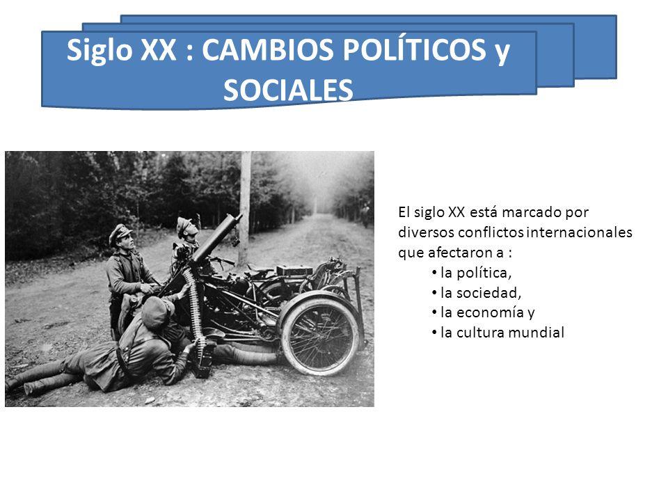 El siglo XX está marcado por diversos conflictos internacionales que afectaron a : la política, la sociedad, la economía y la cultura mundial Siglo XX
