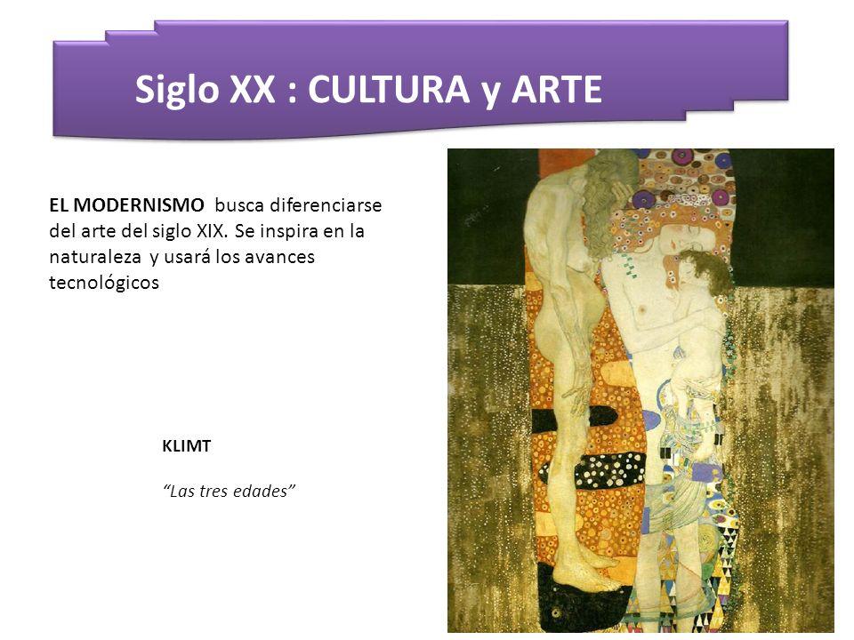 Siglo XX : CULTURA y ARTE KLIMT Las tres edades EL MODERNISMO busca diferenciarse del arte del siglo XIX. Se inspira en la naturaleza y usará los avan