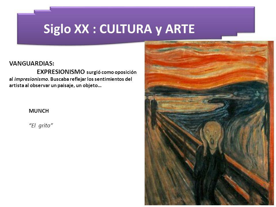 Siglo XX : CULTURA y ARTE MUNCH El grito VANGUARDIAS: EXPRESIONISMO surgió como oposición al impresionismo. Buscaba reflejar los sentimientos del arti